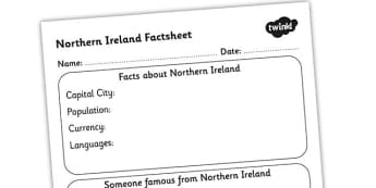Northern Ireland Factsheet Writing Template - northern ireland, northern ireland fact sheet, northern ireland fact file, northern ireland worksheet, ks2