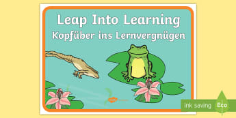 Leap Into Learning Motivational Poster English/German - Motivation, study, studying, EAL, German, English-German,,German-translation