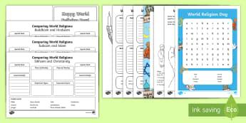 KS1 World Religion Day Activity Pack - RE, Religion, comparing religions, Christianity, buddhism, Judaism, Sikhism, islam, world religion d