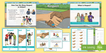 School Values Respect Activity Pack - vision, aims, Strategies, relationships, bullying