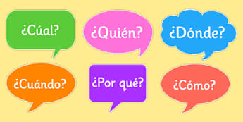 Question Words on Speech Bubbles Spanish - spanish, question words, speech bubbles