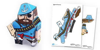 Pirate Gunner Paper Model - pirate, gunner, paper, model, craft