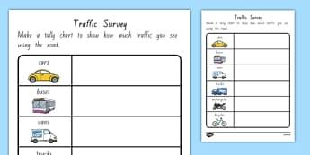Traffic Survey Worksheet NZ - nz, new zealand, traffic survey, survey, how much traffic, car, bus, van, worksheet, sheet, lorries, motorbike, bicycle
