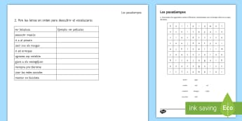 Spanish Hobbies and Free Time Activities Activity Sheet - Spanish, Vocabulary, free time, hobbies, worksheet, activity sheet.
