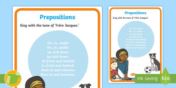 Prepositions Song Lyrics - Sing along, grammar, KS1, lyrics, Teaching prepositions, english, first Foreign language, inglés, c