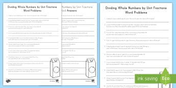 Dividing Whole Numbers by Unit Fractions Word Problems Activity Sheet - division, whole numbers ,unit fractions, word problems, fractions, problem solving, worksheet