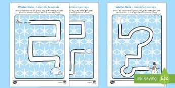 Winter Pencil Control Path Activity Sheet English/Italian - winter, pencil control, pencil control worksheets, fine motor skills, fine motor worksheets, workshe