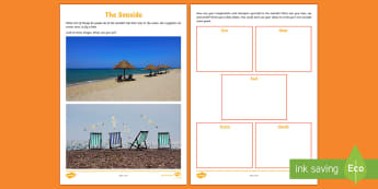 Seaside Senses Activity Sheet - CfE Literacy, writing, topic, social studies, senses, imagination, beach, sea, Scottish