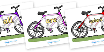 Tricky Words on Bicycles - Tricky words, DfES Letters and Sounds, Letters and sounds, display, words