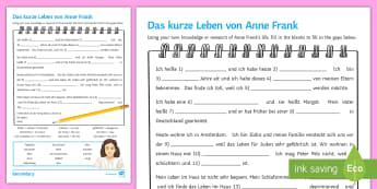 Anne Frank Biography Worksheet / Activity Sheet German - Family Topic, KS3, German, Diary, Real Life, Reading, Gap fill,German