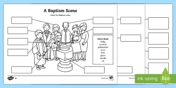 KS1 Baptism Labelling Activity Sheet - Font, Holy Water, God-parents, Priest, Vicar, Pastor, Church Cadedral, religious journey, religious