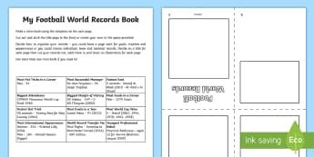 My Football World Records Book  Worksheet / Activity Sheet - Guinness, Soccer, World Cup, Pele, Brazil, Data, Statisitics
