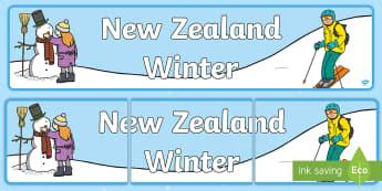 New Zealand Winter Display Banner - New Zealand, Winter, Seasons, Snow, Skiing, Snowboarding, Mountains, Ski Fields, Snow Day, banner