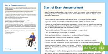 Start of Examination Announcement Adult Guidance - Start of Exam, Access arrangements, Exam, JCQ, Invigilation, Invigilators