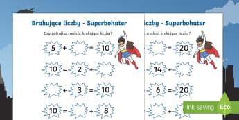 Karty Brakujące liczby Superbohater - dodawanie, superbohater, super, bohaterowie, superbohaterowie, superman, spiderman, batman, dodawani