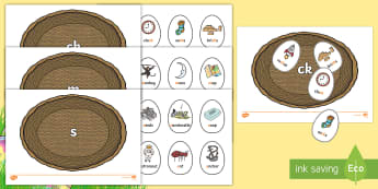 Phase 2 Easter Egg Sorting Phonics Game - EYFS, Early Years, Key Stage 1, KS1, Easter, phonics, Letters and Sounds, Phase 2, letter sounds, le