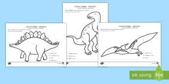 Dinosaurs Color by Number US English/Spanish (Latin)  - Dinosaurs Color by Number - dinosaurs, color, number, activity, dinosuar, dinsaur, dinosour, dinosua