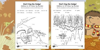 Don't Hog the Hedge! Addition to 20 Colour by Number - Twinkl Originals, Fiction, Autumn, Hibernate, Woodland, Animals, Number Bonds To 20, Simple Addition