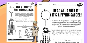 News Report Activity to Support Teaching on James and the Giant Peach - writing template