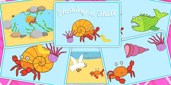 Story Sequencing to Support Teaching on Sharing a Shell - story sequence, stories, book