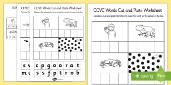 CCVC Cut and Paste Worksheet - ccvc, cut, paste, worksheet, work