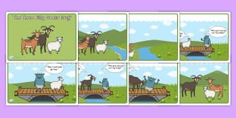 The Three Billy Goats Gruff Story Sequencing with Speech Bubbles - Three Billy Goats Gruff, sequencing, traditional tales, tale, fairy tale, goat, billy goat, troll, sweet grass, bridge