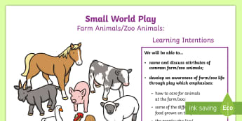 P.B.L. Small World Animals - Learning Intentions  A4 Display Poster - PBL, play-based learning, creature, farm, zoo,