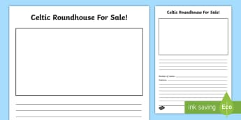 Celtic Roundhouse for Sale Writing Activity - writing templates