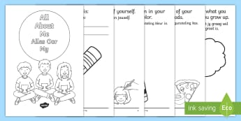 All About Me Activity Booklet English/Afrikaans - Back to School, write, draw, colour, fine motor, literacy, skryf, EAL