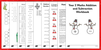 Christmas Themed Year 2 Maths Addition and Subtraction Workbook - christmas, maths, addition, subtraction, workbook