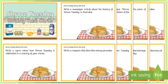 Shrove Tuesday Writing Task Cards - Pancake Day, Pancake Tuesday, Poem, Poetry, Persuasive text, Narrative, report, text type