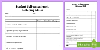 Student Self-Assessment: Listening Skills Activity Sheet - Assessments and Evaluations, languages, listening, communication.