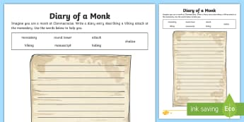 Diary of a Monk in Clonmacnoise Differentiated Activity - diary, monk, clonmacnoise, shannon, ireland, monastery,Irish