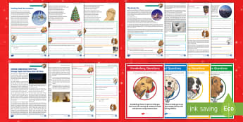 KS2 A Very Merry Christmas Focused Reading Skills Comprehension Pack - Year 3, Year 4, Year 5, Year 6, comprehension, understanding, reading dogs, SATs style questions, co