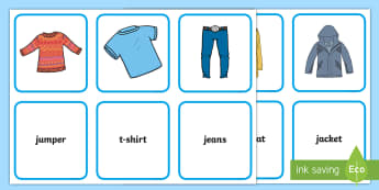 Clothing Matching  Flashcards -  - Clothing, clothes, flashcards