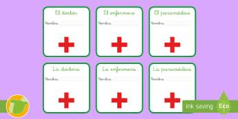 Chapas de juego de rol: En el hospital  - Medicina, médico, médica, salud, hospital, enfermero, enfermería, enfermero, enfermedad, enfermed