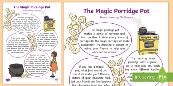 The Magic Porridge Pot Home Learning Challenges Nursery FS1 - EYFS, Early Years, Homework, Cooking,  Traditional Tales, Fairy Tales.