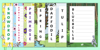Spring Flowers Acrostic Poem Pack - spring, flower, blossom, primrose, daffodil, snowdrop, tulip, bluebell