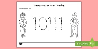 Emergency Number South Africa Tracing Activity Sheet - numbers, fire safety, emergency, phone numbers, personal safety, what to do in an emergency, workshe