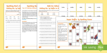 Year 3/4 Spelling at Home: Adding the  -ly Suffix to Make Adverbs (No Change to the Root Word)  Spelling Pack - Support with KS2 spellings, suffix -ly, make adverbs, ly adverbs, suffixes, SPaG, GPS, parent, home,