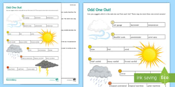 Weather and Climate: Odd One Out Activity Sheet - Weather, Climate, Rainfall, Fronts, Depressions, Weather Instruments, worksheet