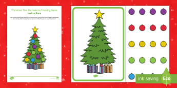 Christmas Tree Decorations Counting Game - EYFS, Early Years, KS1, Key Stage 1, Christmas, Xmas, Christian Festival, Christmas tree, christmas