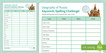 Russian Geography Spelling Challenge - Russia, spellings, keywords, homework, KS3