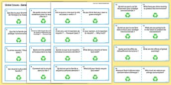 Global Issues Question Cards French - Conversation, Speaking, Environment, Environnement, Planet, Planète, Energy, énergie, Recycling, Recyclage, Poverty, Pauvreté, Homeless, SDF, Sans-abri
