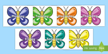 Days of the Week on Butterflies - Days of the Week, Weeks poster, week, display, poster, frieze, Days, Day, Monday, Tuesday, Wednesday, Thursday, Friday, Saturday, Sunday