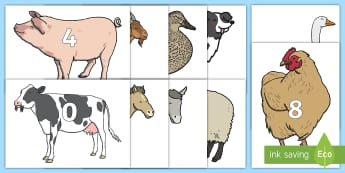 0 to 100 on Farm Animals Display Cut-Outs  - 0 to 100 on Farm Animals - farm, on the farm, farm animals, numbers on farm animals, 0-100 on farm a