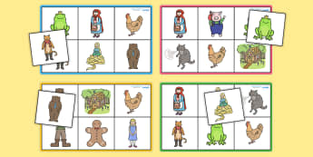 Traditional Tales Bingo - Traditional tale, story, tale, Bingo, game, Goldilocks, Three little pigs, characters, Billy goats gruff, cinderella, little red riding hood