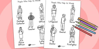 People Who Help Us Words Colouring In - colour, colouring game