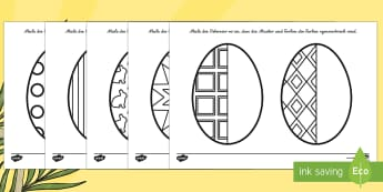 Easter Egg Symmetry Sheets German - german, symmetry, sheets, symmetry sheets, easter egg, symmetry activity, easter egg symmetry, easter symmetry, reflection, creating symmetry, numeracy, math, shapes, symmetry activity