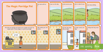 The Magic Porridge Pot Story Sequencing (A4) - magic, porridge, pot, little girl, lady, magic pot, cook, magic words,sequencing, story sequencing, story resources, A4, cards
